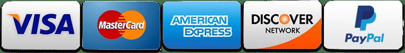 Visa Mastercard American Express Discover Paypal